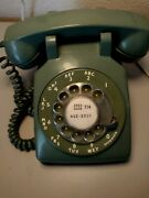 Vintage Bell System Western Electric Avocado Green Rotary Dial Phone Model 500