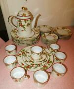 Fitz And Floyd Christmas Holly China Set - 40 Piece Svc For 8 - Plus Coffee Pot