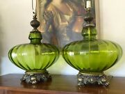 Very Large Mid Century / Hollywood Regency Green Empoli Glass Table Lamps