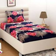 Microfiber Comfort Floral Single Bedsheet With Pillow Cover Printed Bed Sheet