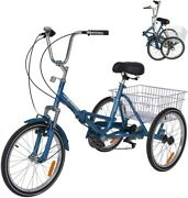 Adult Folding Tricycle 7speed 20/24/26 3wheel Cruiser Bike With Basket For Gift