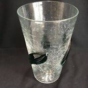"""Vintage 10"""" Tall Blenko Crackle Glass Clear Vase W/ Applied Green Leaves Mcm"""