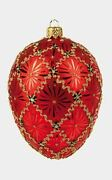 Red Coronation Egg Faberge Inspired Polish Mouth Blown Glass Holiday Ornament