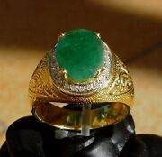 Men's 18k Solid Gold Natural Emerald And Diamonds Ring
