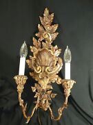 Vtg Pair Matched Huge Hand Carved Gold Finish Wood Electrified Sconces Italy