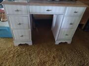 Vintage Solid Wood Kneehole Desk Hand Painted In Pink White And Silverandnbsp