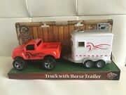 Blue Ribbon Toy Truck And Horse Trailer Toy. [ Horse Toy Inside Trailer]