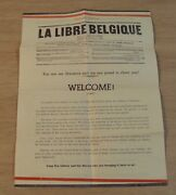 Vtg 1944 Wwii Flyer For American And British Troopswelcomethe Free Belgiumjc