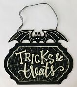 Halloween Door Sign Tricks And Treats Black And White With Vampire Bat 13.5 X 10.75