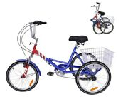Adult Folding Tricycles 7 Speed Folding Trike 24inch 3 Wheel Bikes With Basket