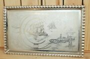 Vintage Nautical Metal Wall Hanging Plaque Seascape Ships