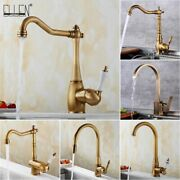 Antique Bronze Kitchen Faucets 360 Rotate Swivel Faucet Hot Cold Water Tap Mixer