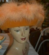 Vintage Jack Mcconnell Gold Wool Marabou Feather Hat