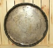 Antique Silver Plated Brass Serving Tray Platter