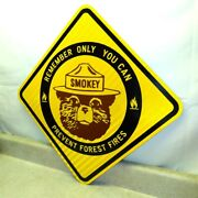 Vintage Smokey Bear Forest Fires Sign, Reflective, 18 X 18, Parks, Road, Camp