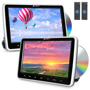 2x 10.1 Dual Screen Car Headrest Monitor Dvd Player Touch Button 1080p For Kids