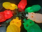 Vintage String Of 7 Blow Mold Plastic Owls Patio Rv Camping Lights Next Day Ship