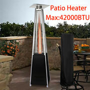 Patio Heater 42000 Btu Pyramid Flame Outdoor Propane Heater Wheels With Covers