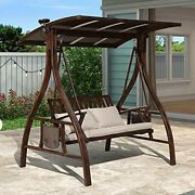 Purple Leaf Porch Swing Chair With Canopy Outdoor 2 Person Yard Hammock Swing W/