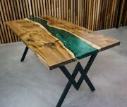 60 X 32 Epoxy Resin Dining Wooden Table Top Handmade Home Furniture