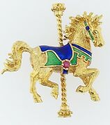 Igor Carl Faberge Solid14kt Yellow Gold And Enamel Carousel Horse Pin Brooch 1979