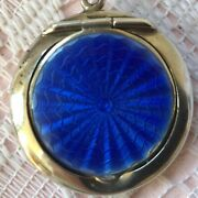 1911 Sterling Silver And Blue Enamel Guilloche Rouge Compact By Miller Bros.