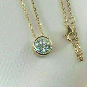 Bezel Set 2 Ct Moissanite Solitaire Pendant Necklace 14k In Yellow Gold Finish
