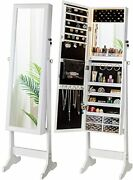 Led Light Jewelry Cabinet Armoire, Standing Mirror Makeup Lockable Large White