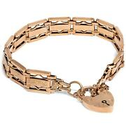Um 1900 Antique Bracelet Made From 375 Gold, With Heart Clasp / Gate Padlock