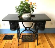 Antique Cast Iron Sewing Machine Wood Drawers Table Marble Top