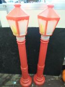 Pair Of Christmas 39 Lighted Blow Mold Lamp Post Yard Decoration, Red