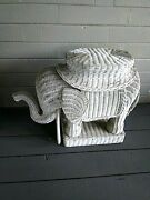 Pier One Imports Rattan Large Elephant Home Accent Table Plant Stand Vintageused