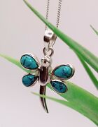 Dragonfly Pendant Necklace With Turquoise Gemstones