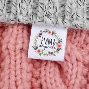 Personalized Custom Sewing Label Fold Clothing Name Tags Logo Text Cotton Ribbon