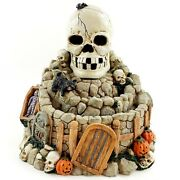 Halloween Haunted Skull Water Fountain Spooky Incense Burner Holder Sold As Is
