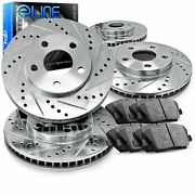 Front Rear Brake Rotors Drill Slot Silver+super Duty Pads And Hardware Kit R516