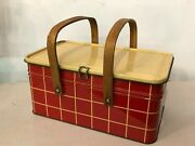 Vintage Red Plaid W/ Yellow Top Salerno Cookies Tin Picnic Basket Wooden Handles