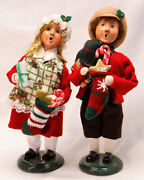 Byers Choice Boy Girl From Family With Stockings Carolers - New - Free Shipping