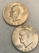 Two Bu Eisenhower Ike Dollars. 1973 And 1973d. Nd5