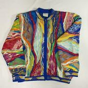 Vintage Coogi Cotton Knitted Sweater Jacket Size Large Made In Australia No745