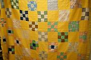 Q1, Vintage Quilt, Hand Quilted, 9 Patch, Cutter, 79 X 65 In.