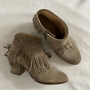 Zadig Voltaire Suede Fringe Boots Womens Size 9