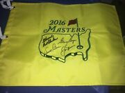 Arnold Palmer Jack Nicklaus Gary Player Signed Masters Flag Personlized Psa Dna