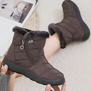 Womenand039s Ankle Boots Zipper Plush Comfortable Snow Solid Sewing Non Slip Boots