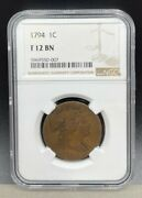 1794 Liberty Cap Flowing Hair Large Cent Ngc F12 Rare Early Us Coin D165