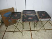 Vintage Metal Brass Tv Snack Trays Set Of 4 W/ Carrier No.47 'carriage Cal-dak