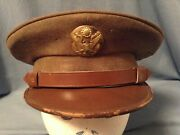 Vtg Wwii Us Army Officer Hat With Eagle Emblem Badge Pin 7 1/8 Ww 2 Military Cap
