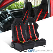 Left+right Black Pvc Leather White Stitch Racing Seats+red 4pt Seat Belt Harness