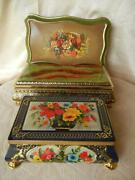 Lot Of 3 Vtg Tin Embossed Boxes 2 Footed Made In W Germany Holland England