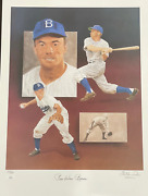 Pee Wee Reese And Christopher Paluso Signed18x24 Lithograph 251/500 Jsa